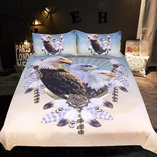 WSNALGQ Ropa de Cama Funda de edredón y Funda de Águila Animal marrón Azul Juego de Cama 100% poliéster con Cremallera Oculta para niños y niñas Adolescentes 200x200cm