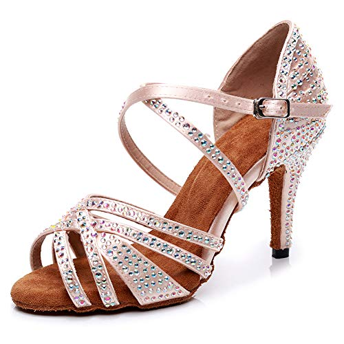 HIPPOSEUS Mujeres Salón de Baile Latino Zapatos Rhinestones Suela de Ante, Modelo ESAFCT459