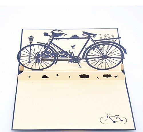 Medigy Carte d'Anniversaire Faite à Main 3D Pop Up Kirigami Creux Vélo Pliable Carte Postale de Voeux pour Anniversaire Mariage Saint Valentin avec Enveloppe