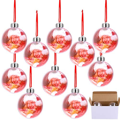 Aneco 10 Pieces Clear Acrylic Photo Ornament Christmas Ball 80mm Hanging Photo Ball Ornaments with Silver Cap and Red Lanyard for Photo Display, Decorating Christmas Trees