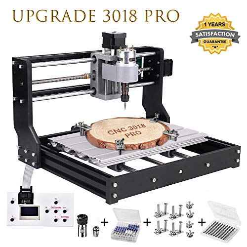 Vogvigo Upgrade Version CNC 3018 Pro Wood Router Kit GRBL Control DIY Mini CNC Machine, 3 Axis Plastic Acrylic PCB PVC Milling Machine with Offline Controller, Working Area 300x180x45mm