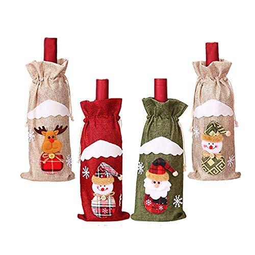 klm 4 Stück/Weihnachten Weinflaschenverschlüsse, Weinflaschen-Geschenkverschlüsse, Wein dekorative Taschen, Familien-Dinnerparty-Dekorationen. Tischdekoration, Geschenktüte