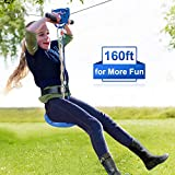 Jugader 160 Foot Zip Line Kit with Detachable Trolley, 304 Stainless Steel Cable, Adjustable Safe Belt and Seat, Bungee Brake System (Up to 250lb)