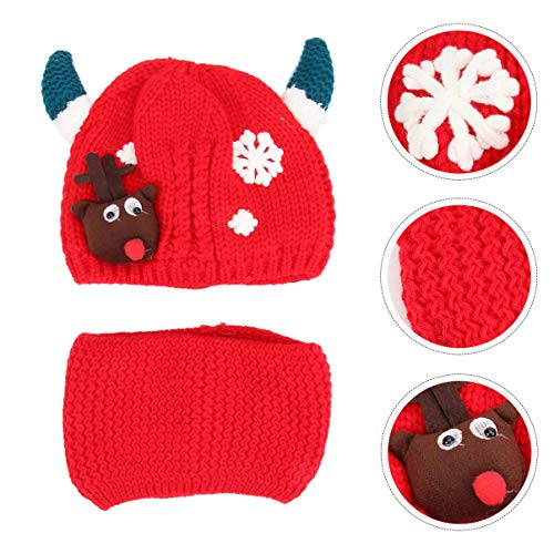 PRETYZOOM 2Pcs Baby Christmas Hat and Scarf Set Reindeer Antlers Crochet Knitted Hat for Toddler Girls Boys Red