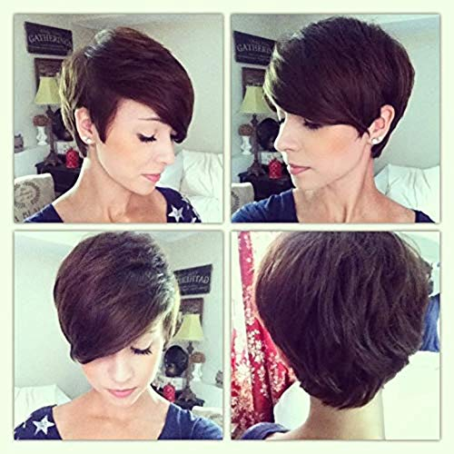 HAIRCARE Short Straight Hair Oblique Bangs Short Hair Wig,Perruques Synthétiques Naturelles pour Les Femmes-a