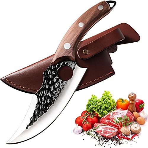 Ausbeinmesser mit Lederhülle Handgeschmiedetes Full Tang Hackmesser Kohlenstoffstahl Fleisch Metzger Kochmesser Outdoor-Messer für Küche Grill Ausflug (Color : Brown Cow Leather Sheath)