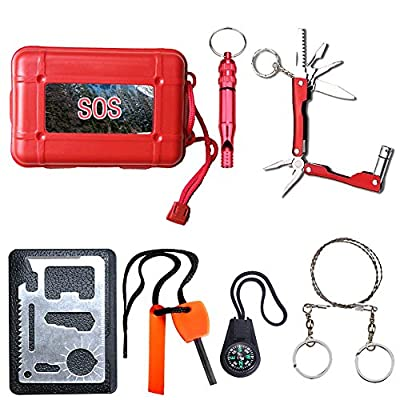 Yancorp Emergency Survival Kit with Waterproof Tool Case 6 in 1 SOS Survival Tool Pack for Camping Hiking Hunting Biking Climbing Traveling from Yancorp