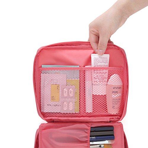 Japace® Beauty Case Sacchetto Cosmetic Borsa da Viaggio Organizzatore di Viaggio con Maniglia Cerniere doppie, grande capacità, Portable per Attività Esterna in Viaggio d'affari 21 * 16 * 8 cm(Rosa)