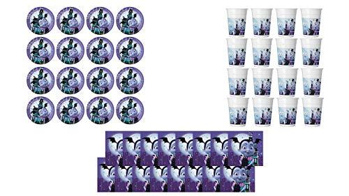2564; Vampirin wegwerpverpakking; samengesteld uit 16 platen 23 cm; 16 glazen en 16 servetten; ideaal voor feesten en verjaardagen