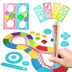 INCLUDED: 7 wheels, 1 ring, 1 assembly track, 2 multicolored gel pen, 2 geometric ruler,4 model ruler. INSPIRE CREATIVITY:It is designed to help children explore creativity and also great for promoting hand-eye coordination and other senses in kids. ...