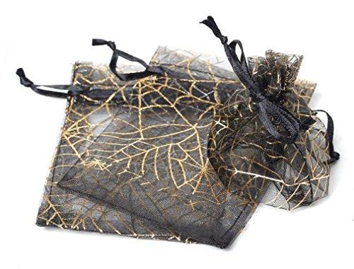 """50 peças, novo design, lembrancinha de Natal, ouro preto, joia de aranha, organza, sacos de presente com cordão 3x4"""""""