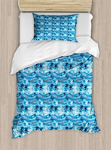 ABAKUHAUS Sea Shells Dekbedovertrekset, Starfish en mantel, decoratieve 2-delige bedset met een siersloop, Blauw Donker Blauw Wit