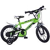 Dino Bikes Kinderfahrrad, Bicicletta da Bambino, 16', Colore: Verde, 16 Inch