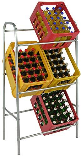 Novaliv Getränkekistenhalter I Regal für 6 Kiste I Silber I Getränkekastenregal I Getränkeregal Kistenregal Regal Abstellraum Multi-Function Rotating Storage Rack