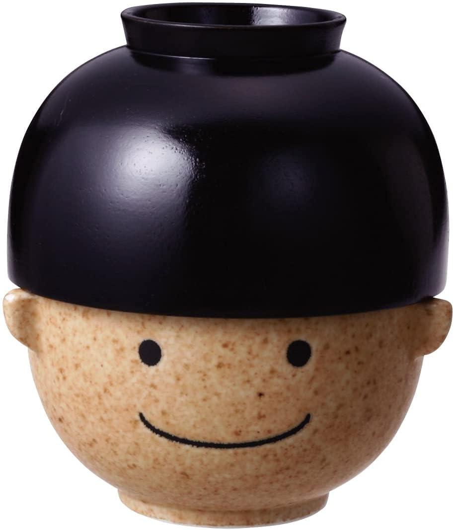 Juego de cuenco japonés, cuenco de sopa de arroz y miso, cerámica y madera lacada, serie Kawaii Faces, Young Boy Manpuku Tarou SAN1596-1
