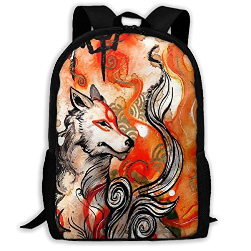 Unisex Custom Okami Amaterasu Adult Backpack Casual School Bag