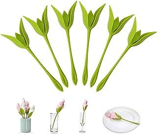 Napkin Holders, 6 Pack Folders Bloom Flowers Floral Green Design for Tables, Green Stemmed Plastic Twist Flower Floral Bud...