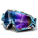 Ski Goggle,Atv goggles,Motocross Goggles,Motorcycle Goggles,UV Protection Windproof Adjustable Safety Outdoor Glasses … (Blue)
