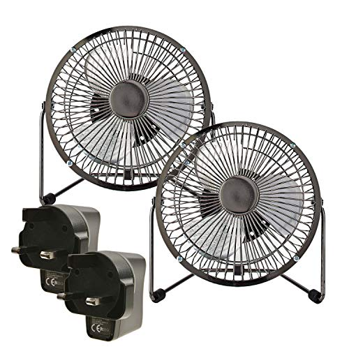 Ex-Pro [2 PACK] 15cm Mini USB Powered Tilting Desk Fan + Mains Plug with Metal Shell and Aluminium Blades, 360° Rotation, On/Off Switch, for Home, Office, Laptop, Notebook, PC, and more - Gun Metal