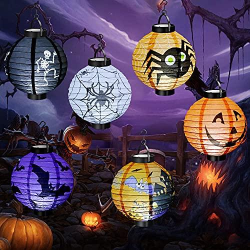 Micacorn Decoraciones de Halloween, 6 pcs Linternas de Papel con Luz LED para Suministros de Fiesta de Halloween Decoración Linterna de Calabaza de Halloween para Interiores y Exteriores