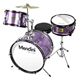 Mendini by Cecilio 16 inch 3-Piece Kids/Junior Drum Set with Adjustable Throne, Cymbal, Pedal & Drumsticks, Metallic Purple, MJDS-3-PL