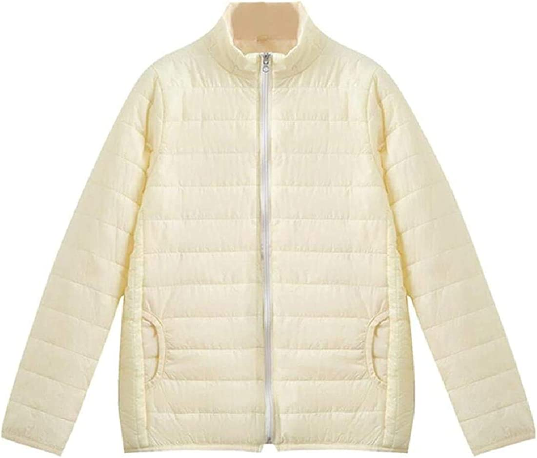 Yhsuk Women Long-Sleeve Padded Quilted Casual Zipper Loose Light Weight Down Jacket