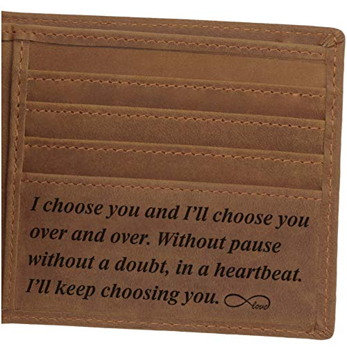 Leather Wallet for Men, Personalized Engraved Gifts for Men, Anniversary Gifts for...