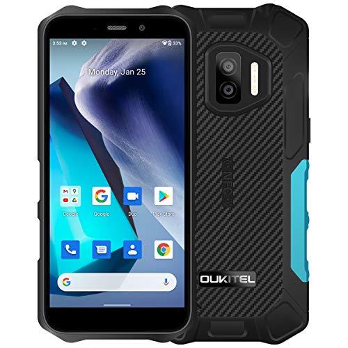 Smartphone IP68/69K WP12 resistente 4 GB + 32 GB 4000 mAh Quad Core Android 11 - Teléfono móvil 5,5 pulgadas HD + 500 W / 1300 W 13 MP con cámara de fotos, color azul