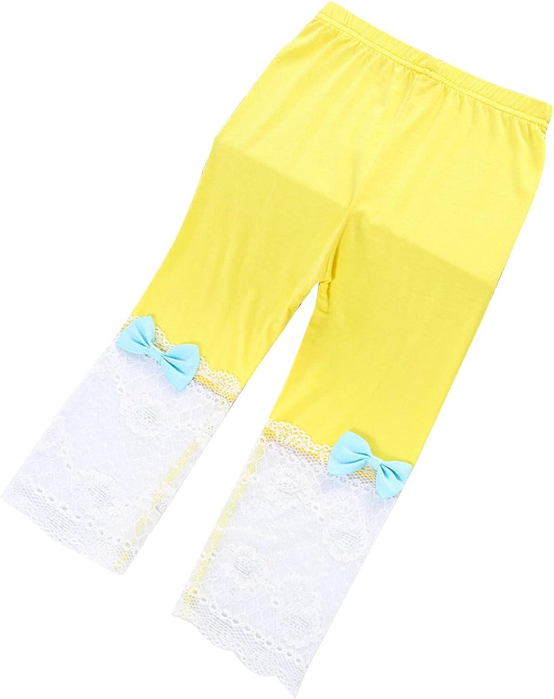 winying Toddler Girls Capri Leggings Girl's Cotton Crop Lace Leggings with Cute Bowknot Pants