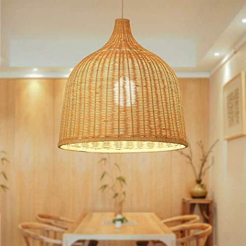 HWJF Vintage Mano lámpara de ratán Techo luz de Techo Sombra luz Colgante Larga línea de luz Restaurante salón Pasillo café iluminación,45 * 45cn