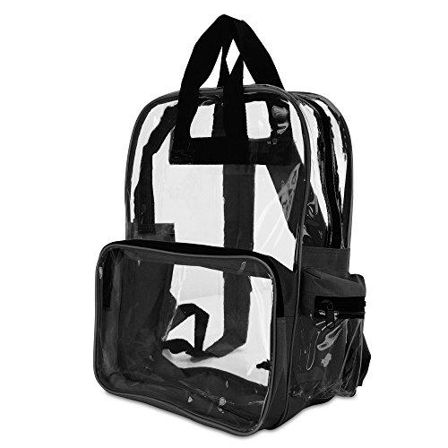 "DALIX 17"" Large Plastic Vinyl Clear Transparent School Security Backpack in Black"