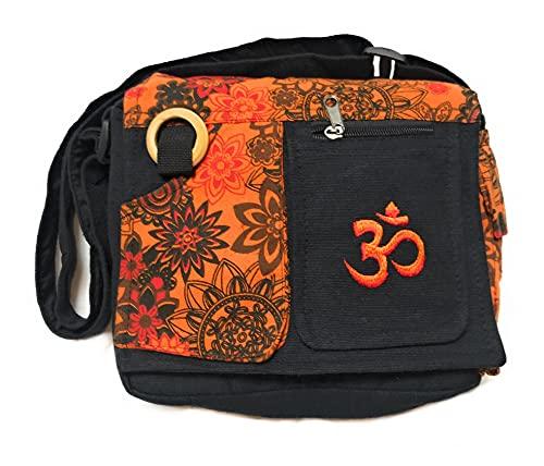 Bolso étnico de algodón con estampados coloridos, para mujer, estilo indio étnico, naranja, largeur 25 cm, hauteur 24 cm, souflet 8 cm.
