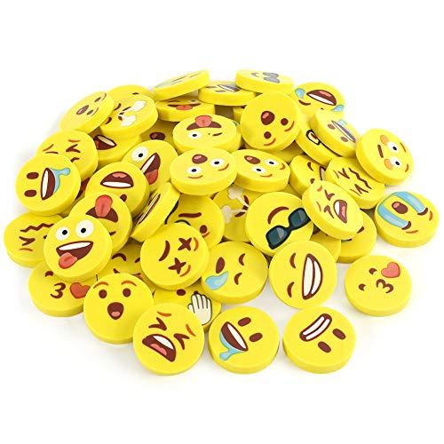 Koogel Lachgesicht Radiergummi, 48 Stück Kinder Smiley Radiergummi Lustige Radiergummis für Kinder Schüler Gastgeschenke Geburtstag