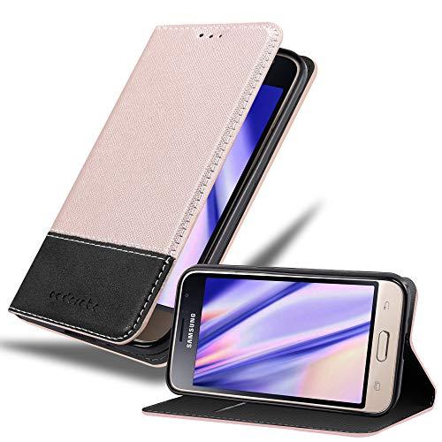 Cadorabo Hülle für Samsung Galaxy J1 2016 (6) - Hülle in Rose Gold SCHWARZ – Handyhülle mit Standfunktion & Kartenfach aus Einer Kunstlederkombi - Hülle Cover Schutzhülle Etui Tasche Book