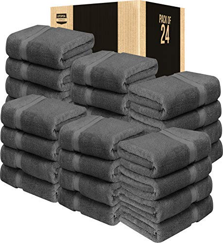 utopia luxury bath towels Utopia Towels Luxury Bath Towels, 27x54, Hotel and Spa Towels, Maximum Softness and Highly Absorbent (Bulk Pack of 24, Grey)