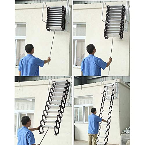 INTSUPERMAI Attic Steps Pull Down 12 Steps Attic Stairs Alloy Attic Access Ladder Black Pulldown Attic Stairs Wall-Mounted Folding Stairs for Attic Retractable Attic Ladder with Armrests 10 ft Height