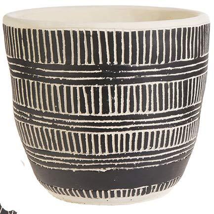 Raz Geometric Design Stoneware Pot/Planter/Bowl in Black and Cream | Large | Modern Boho, Modern Farmhouse, Bohemian, Urban, Desert, Coastal Decor