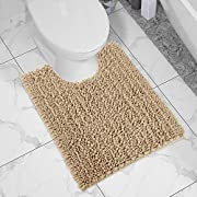 Yimobra Luxury Shaggy Toilet Bath Mat U-Shaped Contour Rugs for Bathroom, Soft and Comfortable, Maximum Absorbent, Dry Quickly, Non-Slip, Machine-Washable, 24.4 X 20.4 Inches