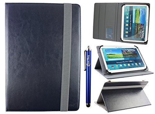 emartbuy Universal 10-11 Zoll Midnight Blau Multi Angle Folio Brieftasche Case Cover Mit Card Slots Grau Elastische Strap Und Stylus Stift Geeignet Für Ausgewählte Geräte Aufgeführt Unten