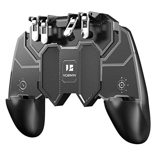 Mobile Game Controller with 4 Triggers Compatiple for PUβG/COD Mobile Fotnite [6 Finger Operation], L1R1 L2R2 Grip Gamepad Joystick Remote Shoot Aim Key for iOS Android Phone