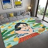 Bljanglai Belleza Alfombra De Área De Piña Alfombra Antideslizante Impresa En 3D Sala De Estar Dormitorio Mesita De Noche Sofá Alfombras De Piso Alfombras De Cocina 100X150Cm K3483
