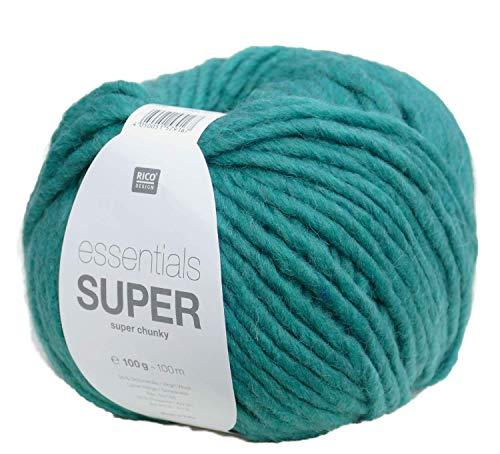 Rico essentials Super chunky Farbe 39 algen grün, Dicke weiche Wolle Nadelstärke 10 mm, Schnellstrickwolle