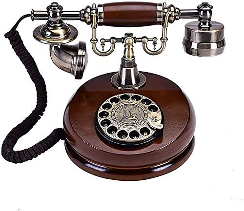 CJDM Teléfono clásico de la Vendimia, Estilo Vintage Dial Giratorio Línea Fija Madera Maciza Línea Fija pasada de Moda Moda Creativo Retro Estilo Europeo Sala de Estar Teléfono Giratorio Hogar