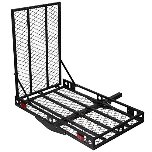 ORCISH 500Lbs Capacity Folding Hitch Mounted Wheelchair Carrier Scooter Cargo Carrier Rack with Ramp