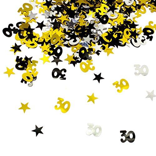 Oblique-Unique® 30. Geburtstag Jubiläum Konfetti Gold Silber Schwarz Sterne Tisch- Konfetti mit Spiegeleffekt - über 500 Stück