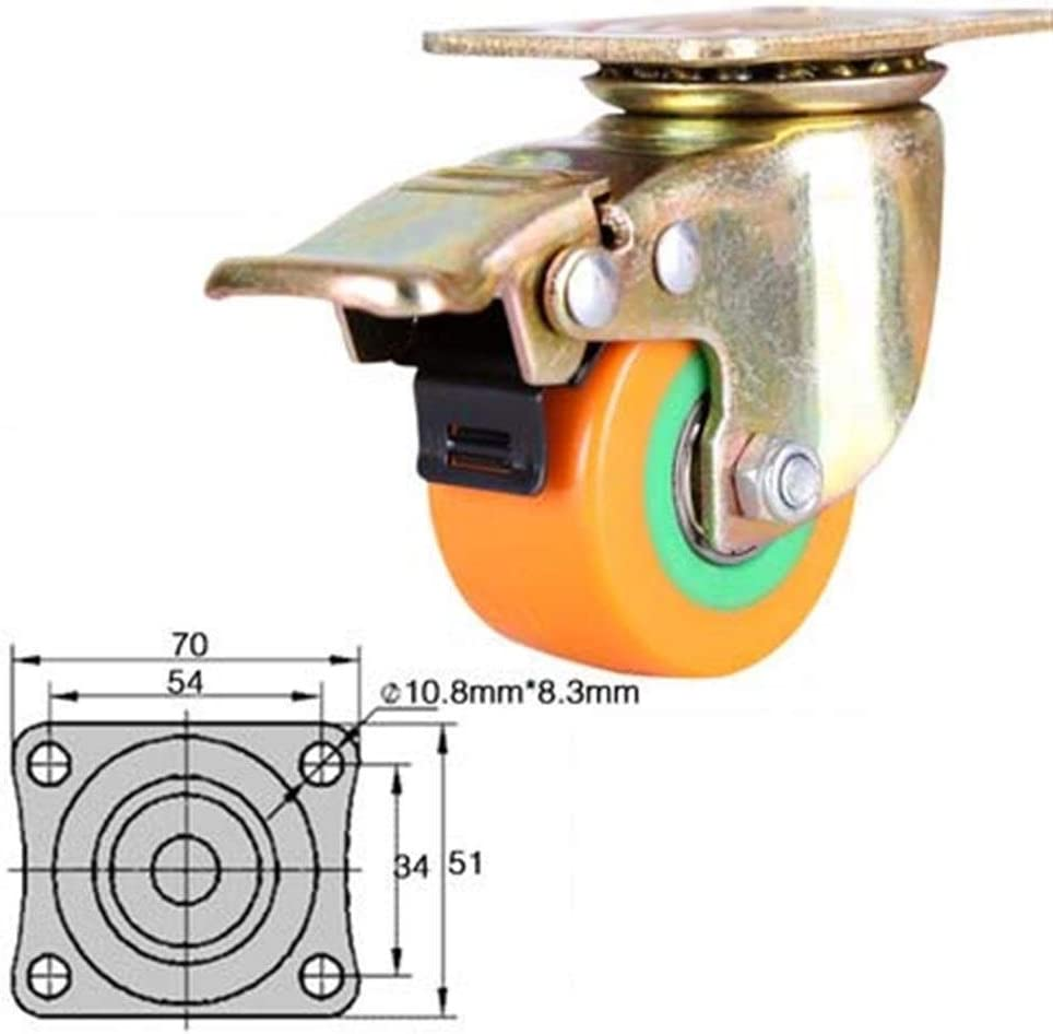 Cylficl 4PCS 2 Inch Silent Casters Office Furniture Universal Wheel Flat Trolley Casters Polyurethane Heavy Duty Brakes Vientiane Wheel Color : C