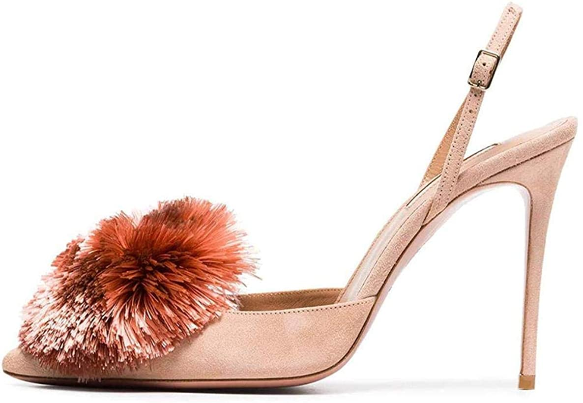 Ayercony Pumps for Woman, Puff Pompom High Heels Pointed Toe Sandals Slingback Shoes for Dress Office