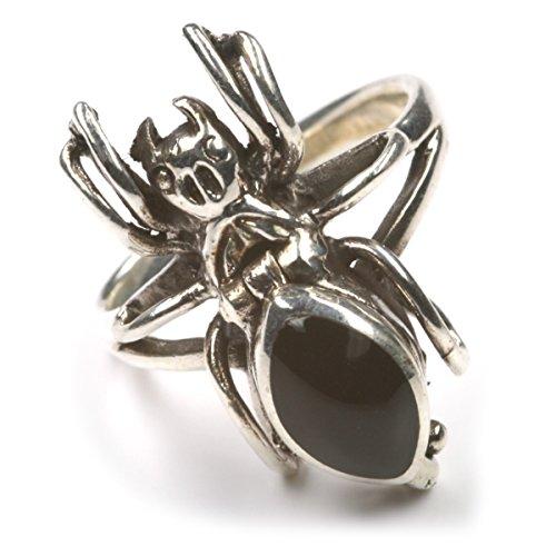 Drachensilber Spinne Schmuck Silberring mit Fach 925 Silber Giftring Gothic Schmuck, Größe 58