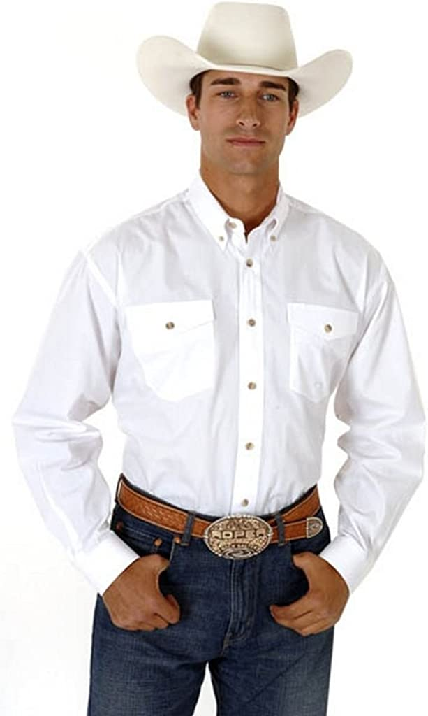 Roper Men's Poplin Western Shirt Big and Tall White XX-Large Tall