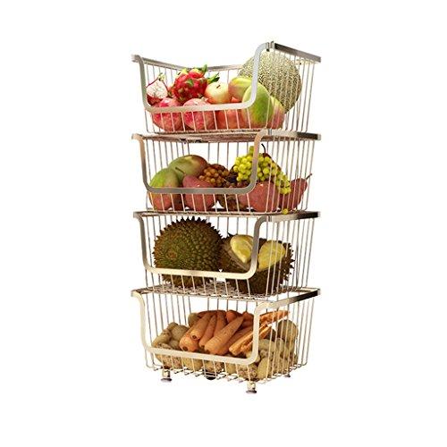 Panier De Stockage De Panier De Légumes De Fruit De 4 Couches/Support De Stockage/Support D'organisation De Légumes De Cuisine/Panier Coulissant/Étagère Verticale - Chrome - Argent